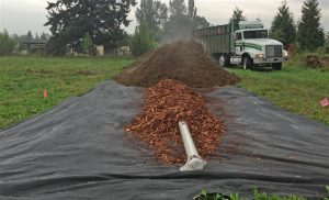 Pile being formed, with perforated pipe, a layer of wood chips to improve airflow, and dairy solids dropped by truck.